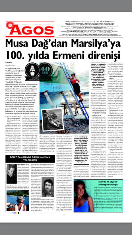 AGOS, the Turkish-Armenian weekly of Istanbul devoted our project a whole page in its 4 September issue...